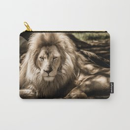 Lion Lying Down (Black & White) Carry-All Pouch