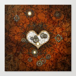 Steampunk, wonderful heart Canvas Print
