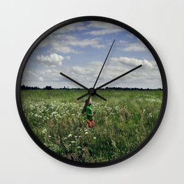 midsummer flower field Wall Clock