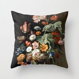 Still Life Flower Painting by Rachel Ruysch Throw Pillow