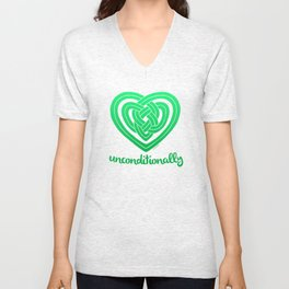 UNCONDITIONALLY in green Unisex V-Neck