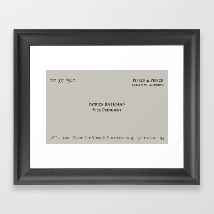 American Psycho - Patrick Bateman Business Card Framed Art Print by ...
