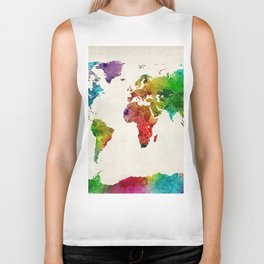 Watercolor Map of the World Map Biker Tank