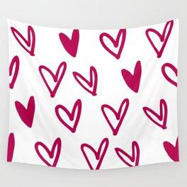 Lovely hearts - fuchsia heart pattern Wall Tapestry