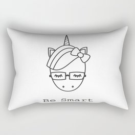 be smart motivational slogan with cute cartoon black and white unicorn with eyeglasses Rectangular Pillow
