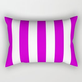 Deep magenta violet - solid color - white vertical lines pattern Rectangular Pillow