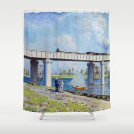 Claude Monet - Railway Bridge Shower Curtain