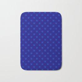 Brandeis Blue on Navy Blue Snowflakes Bath Mat