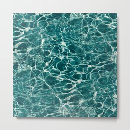 Aqua Underwater Wavy Rippling Water Metal Print