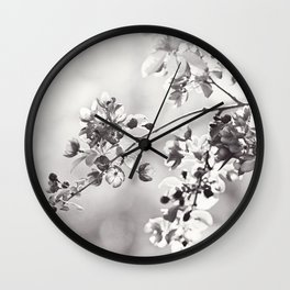 Black and White Floral Photography, Grey Neutral Nature Art, Light Gray Botanical Flower Photo Wall Clock