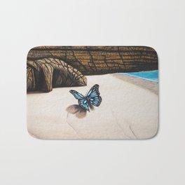 Le papillon de l'amour bleu azur Bath Mat