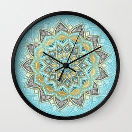 Cyan & Golden Yellow Sunny Skies Medallion Wall Clock