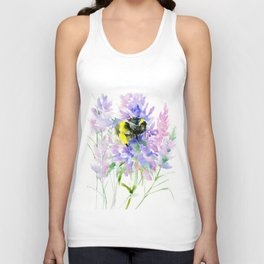 Bumblebee and Lavender Flowers Unisex Tank Top