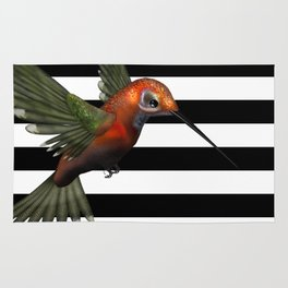 Colorful Hummingbird & Horizontal Stripes Rug