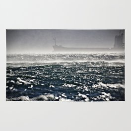 Ship in the storm Rug