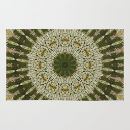 Tree Trunk Green and White Rug