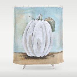 Tall white pumpkin Shower Curtain