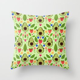 Happy Avocados Throw Pillow