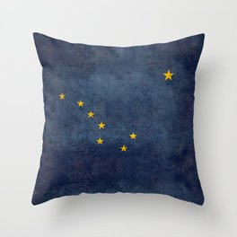 Alaskan State Flag, Distressed worn style Throw Pillow