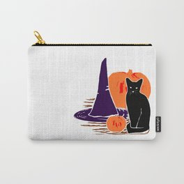 Witch Cat Pumpkin Woodcut Halloween Design Carry-All Pouch
