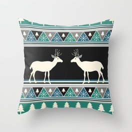 Christmas pattern with deer Throw Pillow