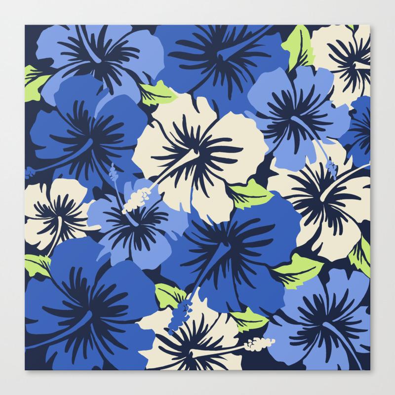 Epic Hibiscus Hawaiian Floral Aloha Shirt Print Canvas Print By