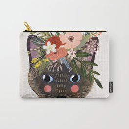 Siamese Cat with Flowers Carry-All Pouch