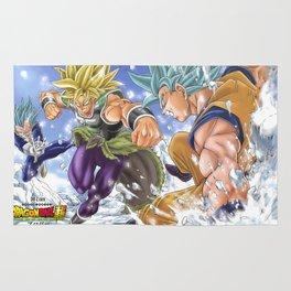 goku super saiyan god blue versus broly Rug