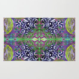 green and purple butterfly with swirly damask pattern Rug