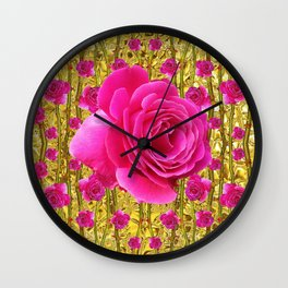 "FUCHSIA PINK ""ROSES & THORNS""  GOLD ART  ROSE  PATTERNS Wall Clock"