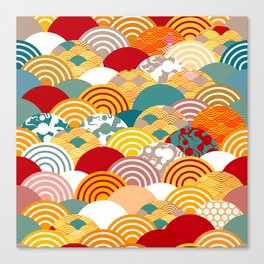 Nature background with japanese sakura flower, orange red pink Cherry, wave circle pattern Canvas Print