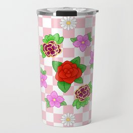 Pixel Flower Pattern Travel Mug