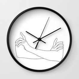 Folded arms line drawing illustration - Juno Wall Clock