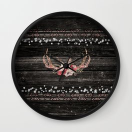 Glam Boho Chic Floral Antlers & Rustic Wood Wall Clock