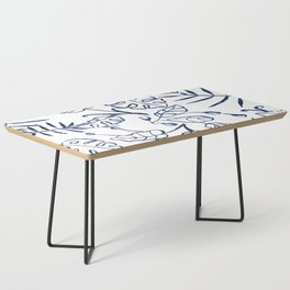 Tropical Plant Boho Chinoiserie Blue and White Coffee Table