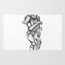 knight skeleton - warrior illustration - skull black and white Rug