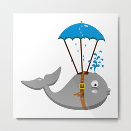 Whale skydiving V6S2 Metal Print