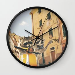 Raccoons on the road trip Wall Clock