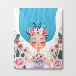 floral tea cup Metal Print