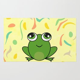 Cute frog looking up Rug
