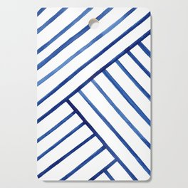 Watercolor lines pattern | Navy blue Cutting Board