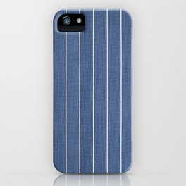 Denim Blue with White Pinstripes iPhone Case