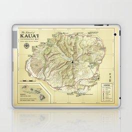 The Island of Kauai [vintage inspired] Topographic Map Laptop & iPad Skin