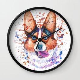Corgi blue eyes portrait Wall Clock