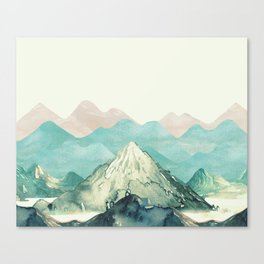 Mountains Landscape Watercolor Canvas Print