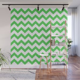 Chevron (Green & White Pattern) Wall Mural