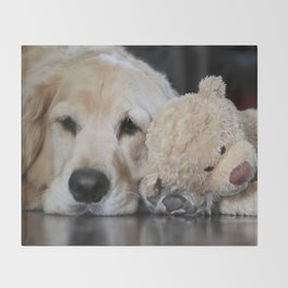 Golden Retriever with Best Friend Throw Blanket