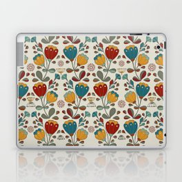 Vintage Ethno Flowers in red, blue and yellow on beige Laptop & iPad Skin