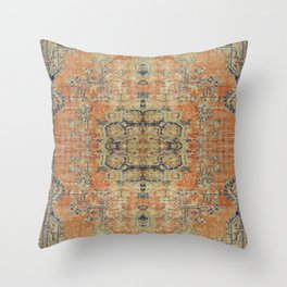 Vintage Woven Coral and Blue Throw Pillow