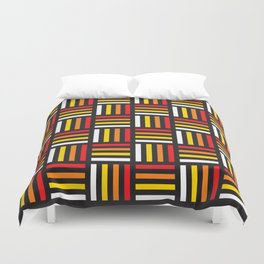 Geometric Pattern #166 (red yellow stripes) Duvet Cover